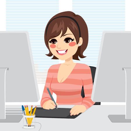 Belle femme graphique concepteur travaillant avec tablette graphique sur ordinateur Vecteurs