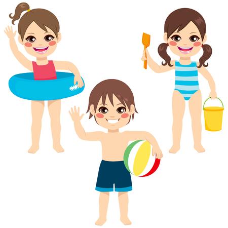 maillot de bain: Full body illustration de trois jeunes heureux enfants filles et garçon souriant avec maillot de bain et jouets colorés