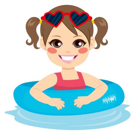 brunette: Cute brunette little girl with blue inflatable ring Illustration