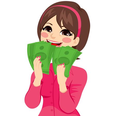 Jonge brunette zakenvrouw echt enthousiast te genieten en het houden van grote fan van groen geld met beide handen