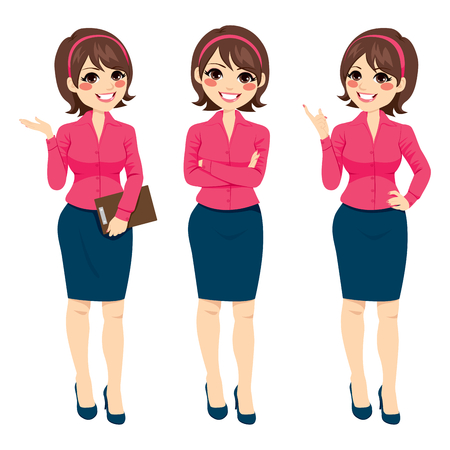 Three different full body illustration of beautiful brunette businesswoman standing making gestures Vectores