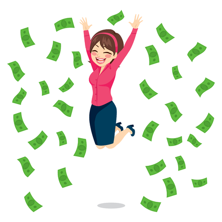 rich girl: Happy businesswoman jumping surrounded by green money bills falling