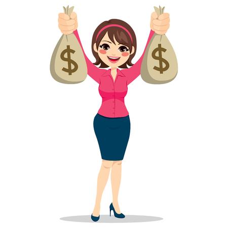 Belle femme d'affaires tenant deux gros sacs d'argent en dollars heureux