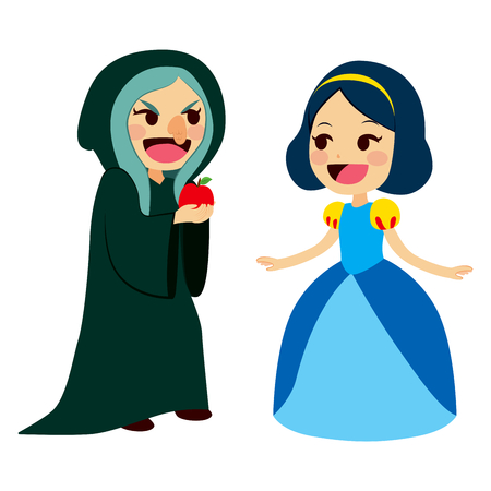 Snow White princess getting an apple from an ugly old evil witch Stock Illustratie