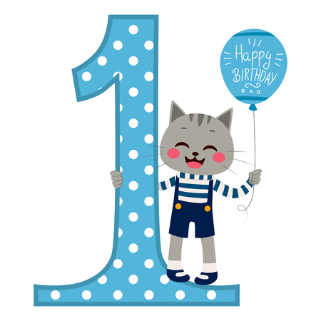 little one: Cute little cat boy wearing blue overall holding balloon with happy birthday text next to big number one
