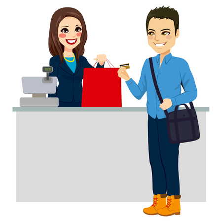 happy customer: Young man paying purchase with credit card while female store clerk is giving shopping bag