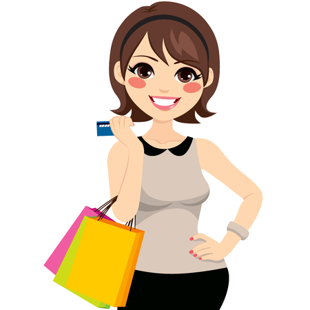 woman holding card: Beautiful young brunette woman shopping with credit card holding shopping bags and posing with hand on hip Illustration