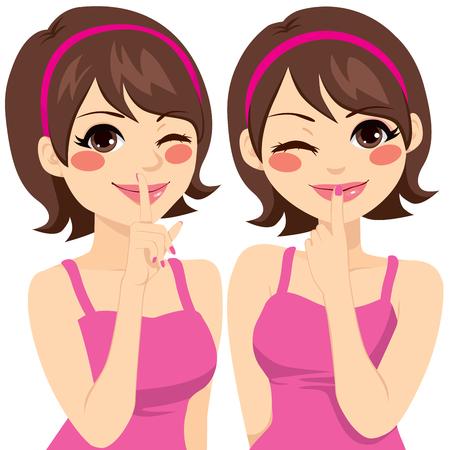guardar silencio: Hermosa mujer joven que muestra el dedo sobre los labios que hacen la expresión silencio
