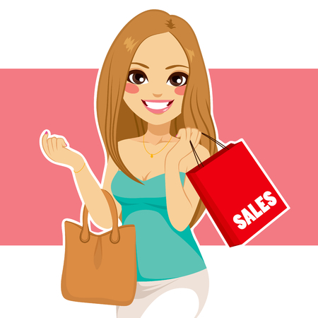 shoppers: Beautiful young blonde woman shopping sales holding red bag and purse