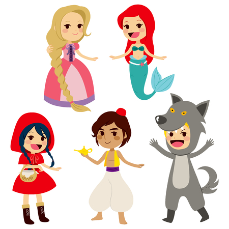 Set of fairy tale characters of popular children books Stock Illustratie