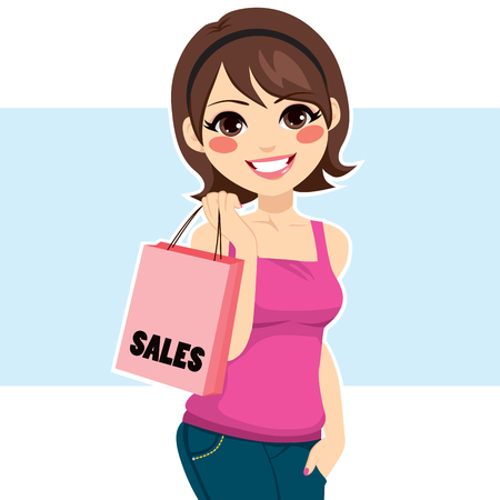 shoppers: Beautiful young brunette woman shopping sales holding pink bag