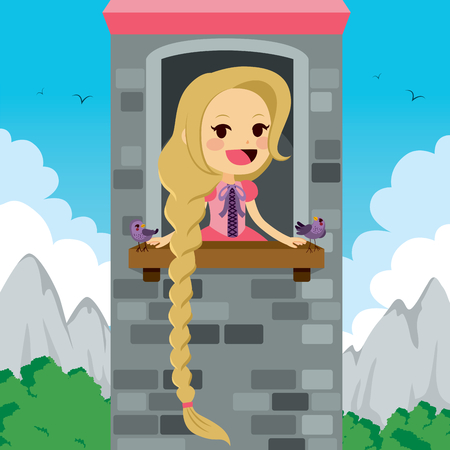 Princess in tower waiting for Prince with bird friends Stock Illustratie