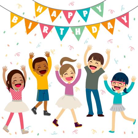 children party: Happy children having fun at birthday party