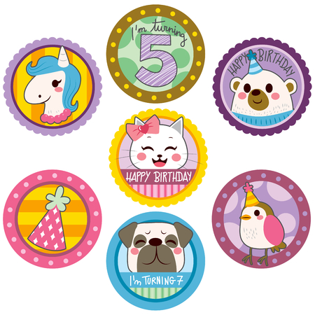 sticker: Happy birthday cute stickers of funny animals and party elements Illustration