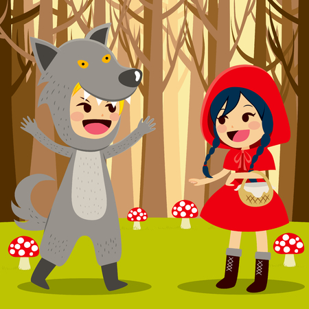 encounter: Illustration of Red Riding Hood at Forest meeting wolf