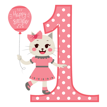 little one: Cute little cat girl wearing pink dress holding balloon with happy birthday text next to big number one