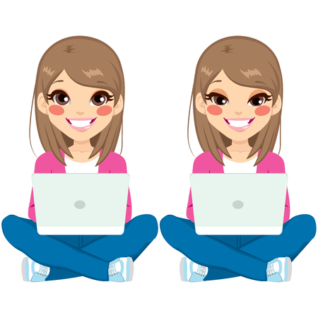 woman looking down: Young beautiful teenager girl sitting on floor with white laptop on two different face expressions Illustration
