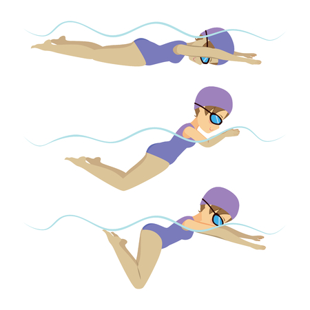 Set with athlete woman swimming breaststroke stroke on various different poses training Stock Illustratie