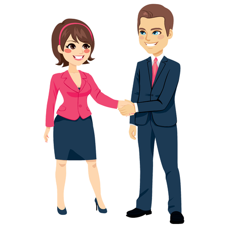 negotiating: Businessman shaking hands with businesswoman happy standing negotiating Illustration