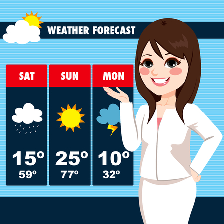 meteorology: Beautiful young tv news weather reporter woman showing weather forecast chart