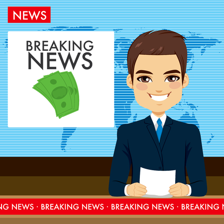 anchor man: Attractive young tv newscaster man reporting breaking news sitting in a studio Illustration