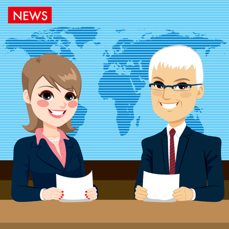 newsroom: Male and female newcaster anchors reporting tv news sitting in a studio Illustration