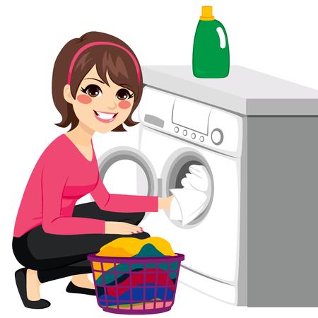 Piękna młoda kobieta robi pranie oddanie brudne ubrania na pralkę z koszem