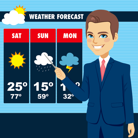 newscast: Attractive young tv news weather reporter man showing weather forecast chart