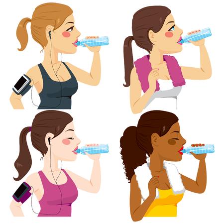 Vier fit sport vrouwen van verschillende etnische afkomst drinken verfrissende mineraalwater