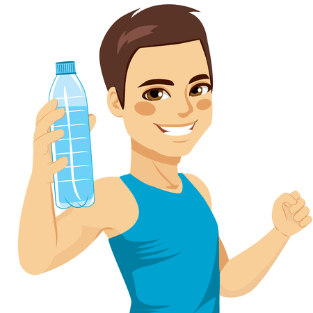 Healthy young man showing bottle of mineral water smiling happy Vettoriali