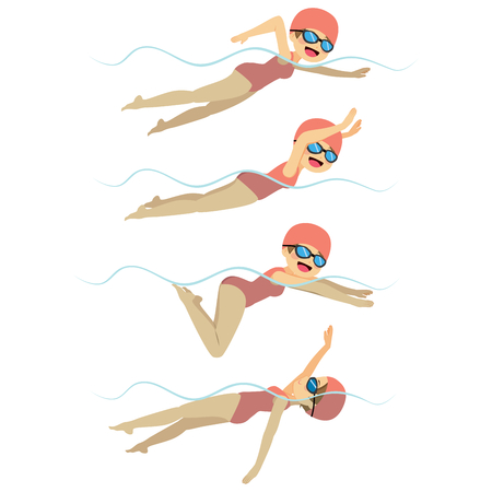 Set with athlete woman swimming in different stroke styles training