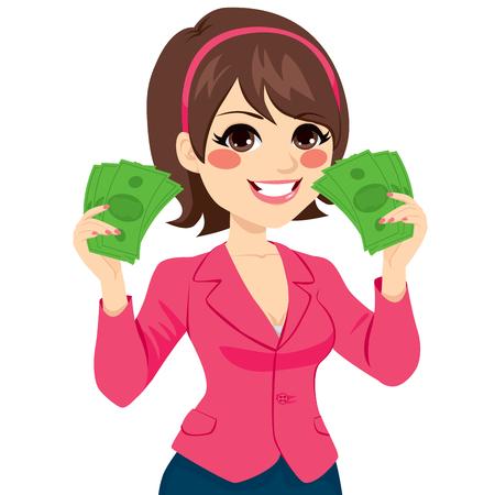 donna ricca: Bella donna di affari felice in possesso di un fan di legge soldi verde su ogni mano mostrando concetto di successo Vettoriali