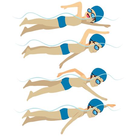 Establecer con el hombre atleta natación accidente cerebrovascular estilo libre en diversas formaciones diferentes poses Ilustración de vector