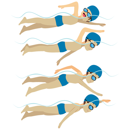 Set with athlete man swimming free style stroke on various different poses training Ilustração