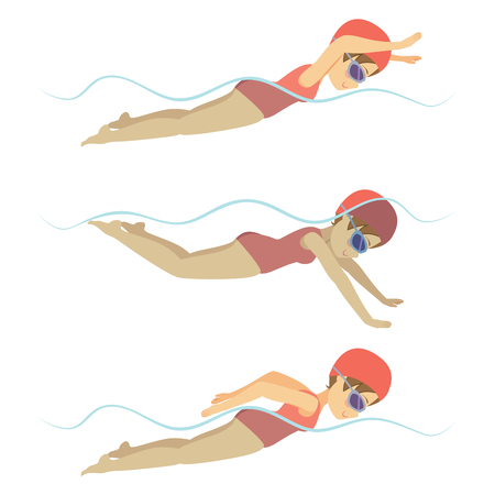 Establecer con la mujer deportista de natación accidente cerebrovascular estilo libre en diversas formaciones diferentes poses Foto de archivo - 55482500