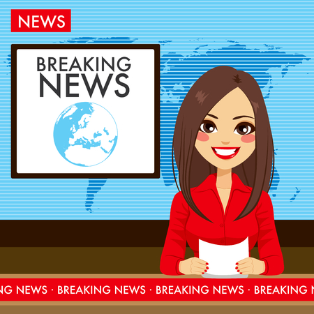 Mooie jonge tv-nieuwslezer vrouw rapportage tv nieuws zitten in een studio Stockfoto - 55482505