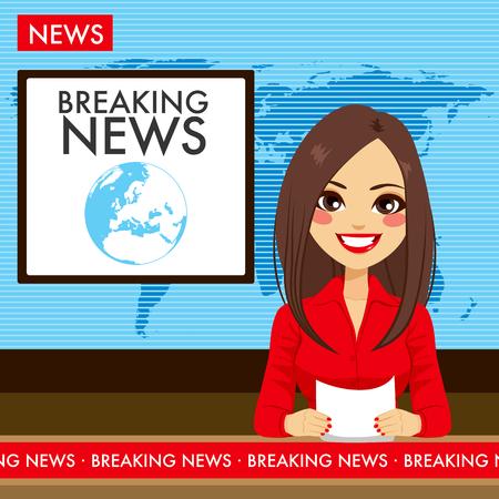 Piękna młoda wiadomości telewizyjnych prezenter tv raportowania kobieta siedzi w studiu