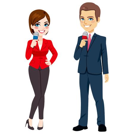 Het bevindende mannelijke en vrouwelijke reporter met microfoon op een witte achtergrond