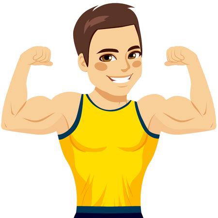 Attractive young muscular man flexing biceps and smiling happy