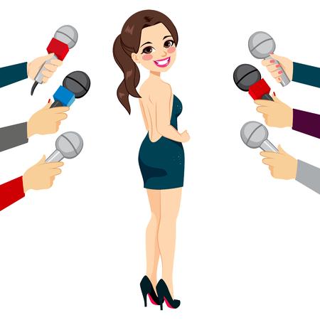 famosos: Hermosa mujer joven famoso posando para los paparazzi y llamar la atención de la prensa