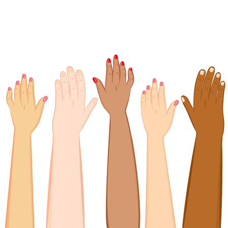 Illustration of diversity hands of different skin tones raised up Vettoriali