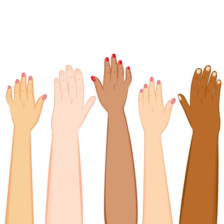 Illustration of diversity hands of different skin tones raised up Illustration