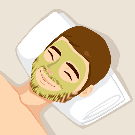 face skin: Man having acne treatment with natural facial green mask to clean face skin Illustration