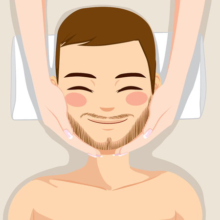 skincare facial: Attractive young bearded man enjoying facial massage skincare treatment Illustration
