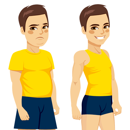 before: Diet concept of fat man before doing sport and dieting and after loss weight fit man