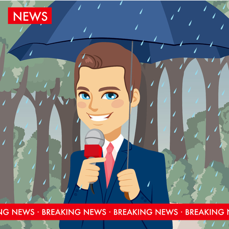 handsome young man: Handsome young news reporter man reporting weather holding umbrella while raining