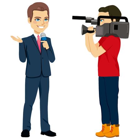 Verslaggever en cameraman exploitant tekens filmen nieuws terwijl verslaggever spreken met microfoon