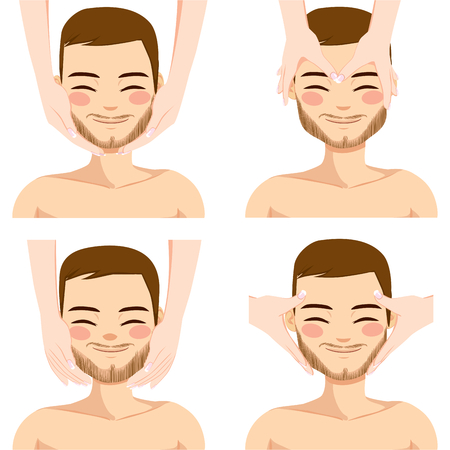 skincare facial: Collection of four facial massage techniques on attractive young man isolated on white background Illustration