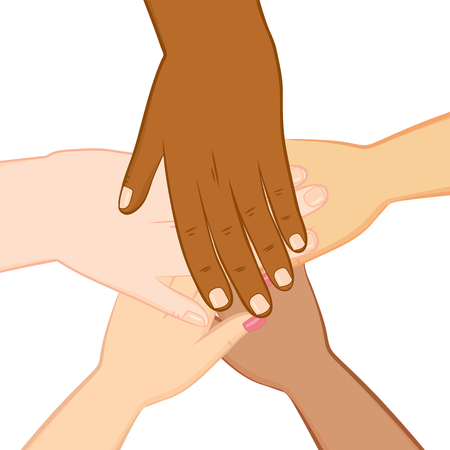 human hands: Illustration of five isolated diversity human hands together Illustration