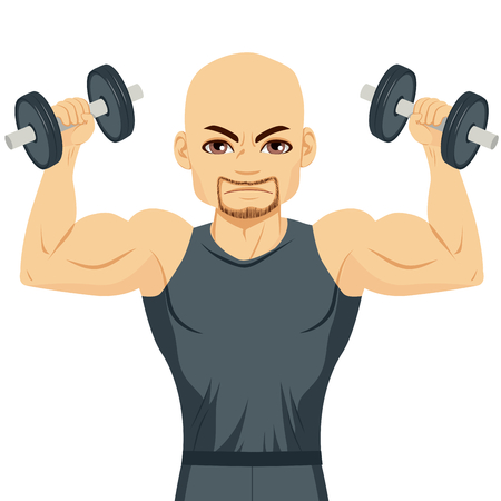 bald man: Serious bodybuilder muscular bald man doing exercising with dumbbells isolated on white background Illustration